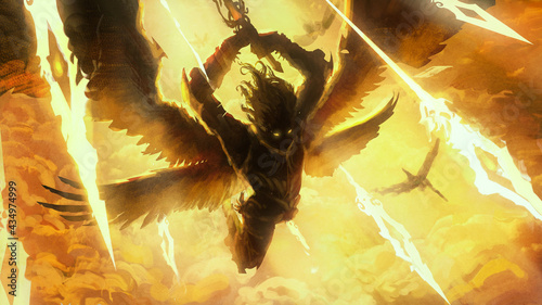 Fényképezés The silhouette of an angel frantically rushing into battle with his comrades, behind him divine light, blue flying spiritual spears of light, they raise their sword to strike