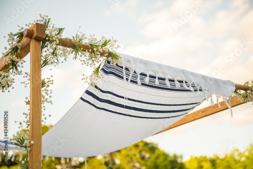 Photo Close up of Chuppah canopy cloth details for traditional Jewish wedding custom