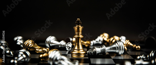 Fotografie, Tablou Close up king chess standing winner to fighting challenge battle on chess board concepts of leadership and business strategy and human personal organization risk management