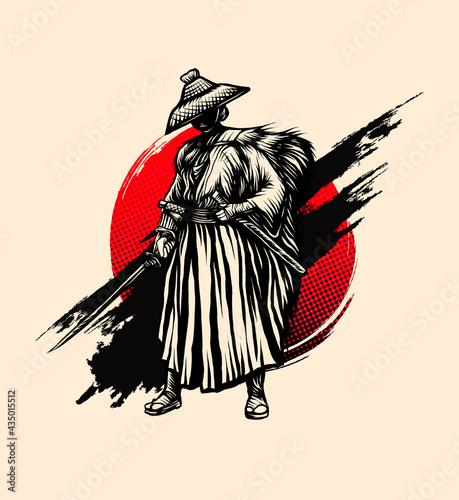 Wallpaper Mural samurai style ink vintage vector