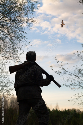 Obraz na plátně a hunter with a rifle looks at a flying woodcock in the evening twilight