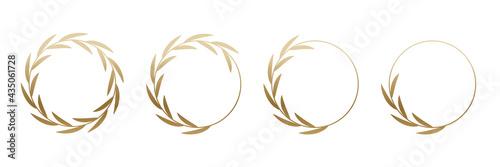 Murais de parede Golden laurel wreath round frame set