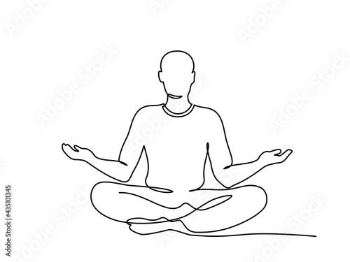 Fotografia Meditating man in lotus yoga pose. One line drawing