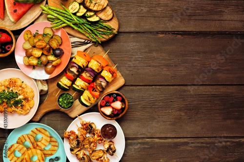 Tableau sur Toile Vegan summer bbq or picnic side border