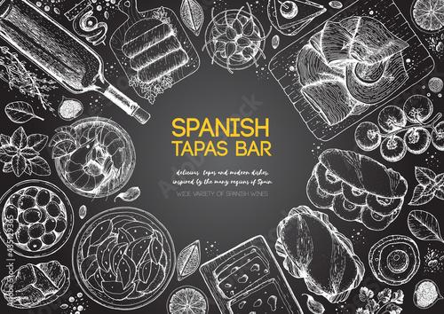 Fotografiet Spanish tapas, top view frame