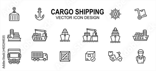 Fotografiet cargo shipping delivery expedition related vector icon user interface graphic design