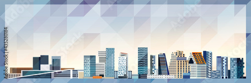 Wallpaper Mural Oslo skyline vector colorful poster on beautiful triangular texture background