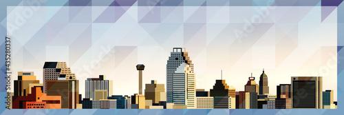 Obraz na płótnie San Antonio skyline vector colorful poster on beautiful triangular texture backg