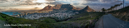 Fototapeta premium Iconic Panorama of Table Mountain, Cape Town, South Africa - dramatic sky. Great outdoors adventure travel destination, Cape Town, South Africa
