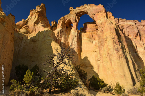 Fototapeta the towering double sandstone grosvenor arch along cottonwood canyon road  in  g