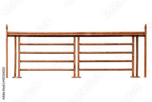 Valokuvatapetti Wooden railing isolated on white background