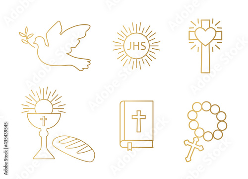 Fototapeta golden christianity icon set; dove, holy communion, cross, chalice and bread, bi