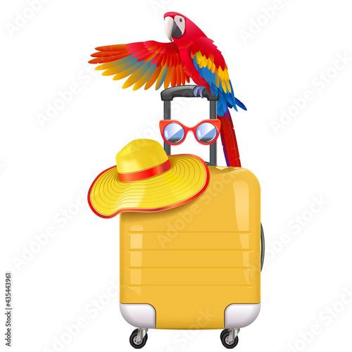 Murais de parede Vector Travel Concept  with Welcoming Parrot