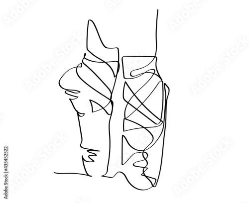 Vászonkép Ballet Pointe shoes continuous line drawing, vector illustration.