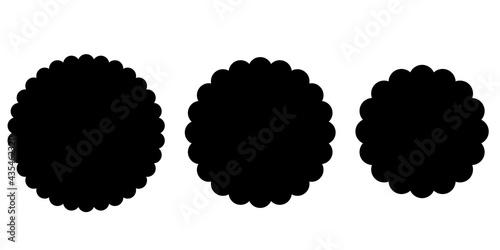 Canvas Print Black Scalloped circle shape set