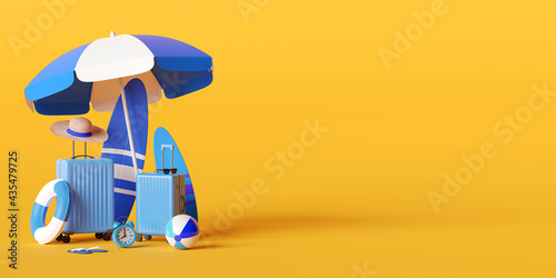Summer vacation concept, Beach umbrella and travel accessories on yellow background, 3d illustration