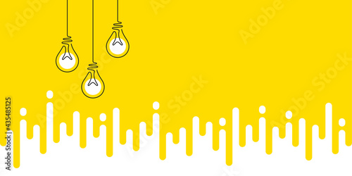 Idea light bulbs silhouette. Lamp icons on yellow transition background. Continuous line lightbulbs with light. Creative idea sketch background. Handdrawn electric bulb. Melting lines pattern. Vector