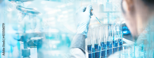 Fotografering banner background of health care researchers working in life science laboratory, medical science technology research work for test a vaccine, coronavirus covid-19 vaccine protection cure treatment