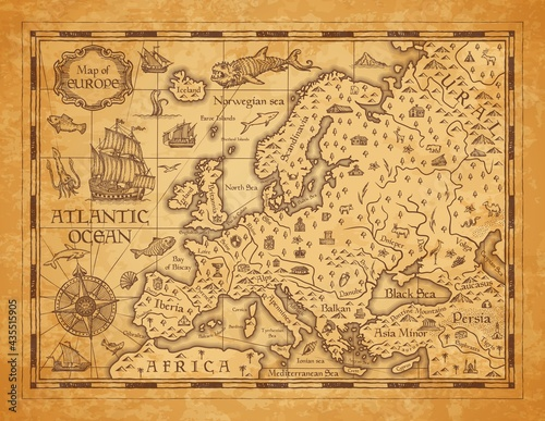 Fotografia Vintage map of Europe, vector ancient parchment with european continent, mountai