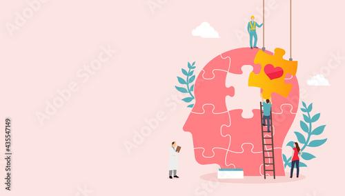 Fotografiet Mental health concept  vector banner illustration