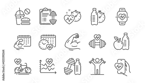 Canvas Print Fitness time line icons