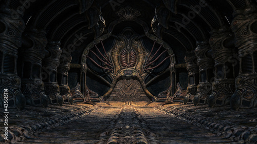 Foto Creepy alien underground cave
