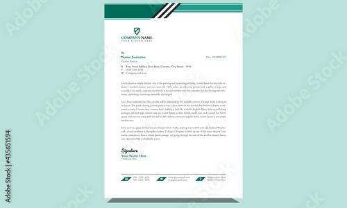 Fotografia, Obraz Simple  abstract modern fresh company professional official unique creative corporate business style letterhead design template with clean black and green shapes