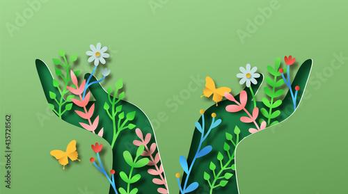 Canvas-taulu Green hand nature plant leaf papercut concept