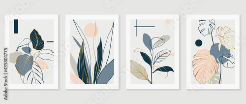 Botanical and gold abstract wall arts vector collection.  Golden and luxury pattern design with Tropical leaves line arts, Hand draw Organic shape design for wall framed prints, cover and poster.