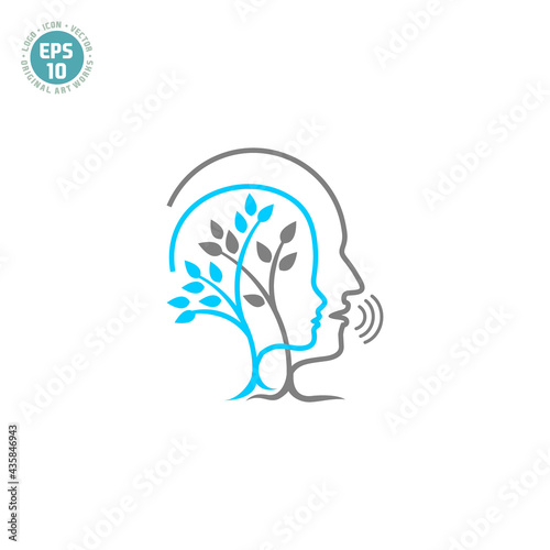 Fototapeta speech therapy logo vector template