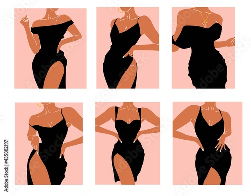 Fotografering Set of abstract girls in black dress isolated on white background