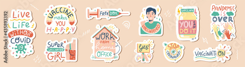 Photo Vaccination hand drawn sticker set with quotes