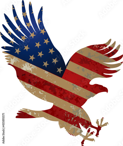Fotografering American eagle with USA flags