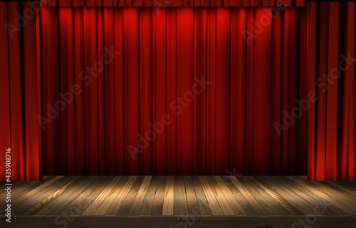 Fotografija Theater stage with a red curtain, ready for a show