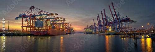 Fototapeta container terminal in the evening in hamburg harbor