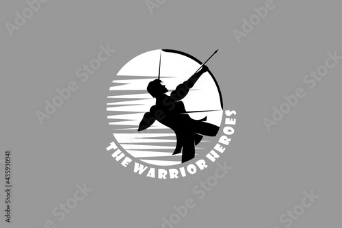Obraz na plátne Hero and Warrior silhouette with moon background