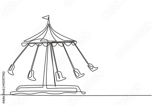 Fotografie, Tablou Continuous one line drawing of a wave swinger in an amusement park with five seats and a flag above tent