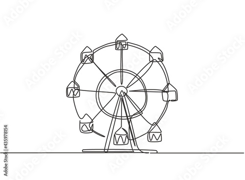 Continuous one line drawing of a ferris wheel in an amusement park, a circular circle turning high in the sky Fotobehang