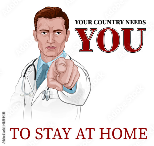 Canvas Print Doctor Pointing Your Country Needs You