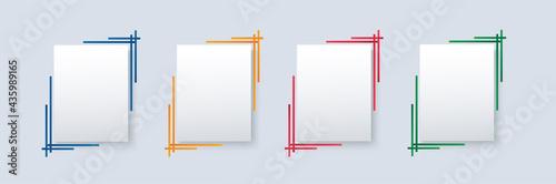 Carta da parati set of modern square isolated color frame template background vector illustratio
