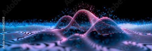 Slika na platnu Waves in a digital grid with particles - atomic model