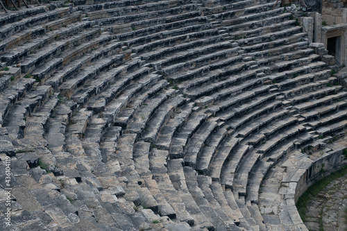 Fotografering Ancient Roman amphitheater made of stone under the open sky in Pamukkale in Turk