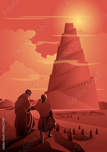 Vászonkép An Illustration of Tower of Babel Biblical Series