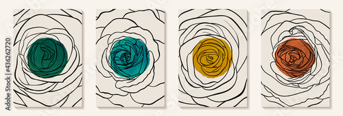 Creative minimalist hand painted Abstract art background with watercolor stain and Hand Drawn doodle rose outline. Design for wall decoration, postcard, poster or brochure