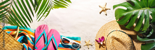 Fotografie, Obraz Beach accessories on the summer sands