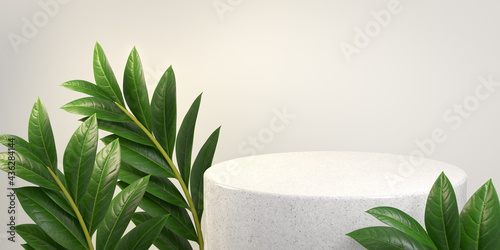 Luxury Minimal White Marble Stage Platform, Summer Green Tropic Plant, Abstract Background 3d Rendering