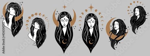 Obraz na plátně Beautiful females with moon