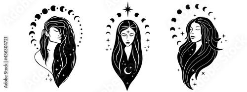 Fotografie, Obraz Beautiful females with moon
