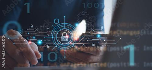 Fotografia Internet network security, personal data protection concept.