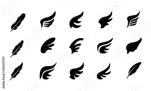 Fotografia Wings and feather icon set vector design